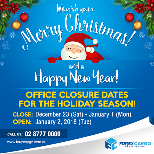 Forex Cargo Australia Holiday closure announcement